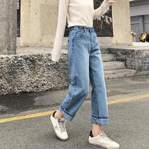 Wide Leg Jeans Boyfriends Jeans Vintage High Waist Pants