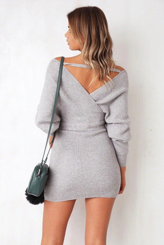 sexy v neck knitted sweater dress