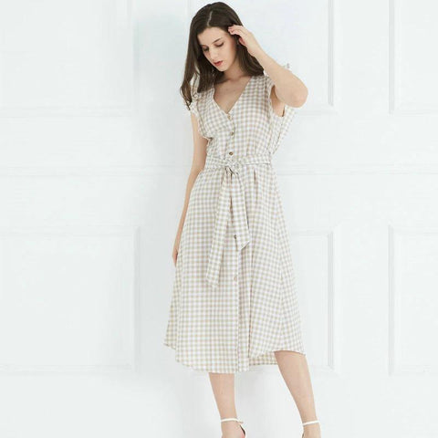 vintage plaid ruffles sleeve  pleated midi dress