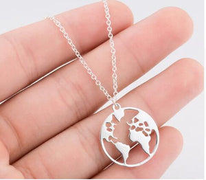 Vintage Origami World Map Necklace