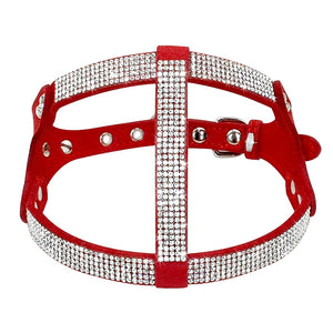 Leather Rhinestone Harnesses For Dogs