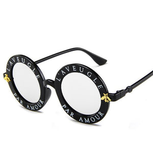 Bee Metal Frame Circle Glasses