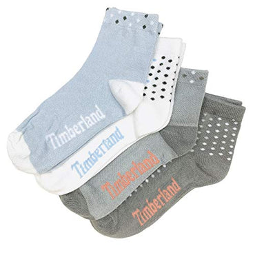 Timberland Women's Anklet Socks (4-Pack) (Blue/Grey Assorted, One Size US 6.5-9.5)
