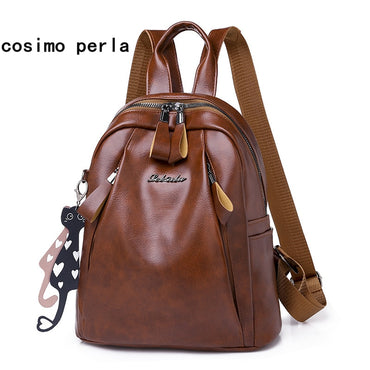 Female sac a dos Leather College Bagpack Bag Fashion Designer Dropshiping School Bags for Women Backpack with Cat Mochila mujer