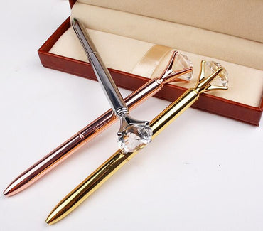 2018 Metal case ballpoint pen Carat diamond ring Crystal pen lady wedding office school supplies gift roller ball pen Rose gold