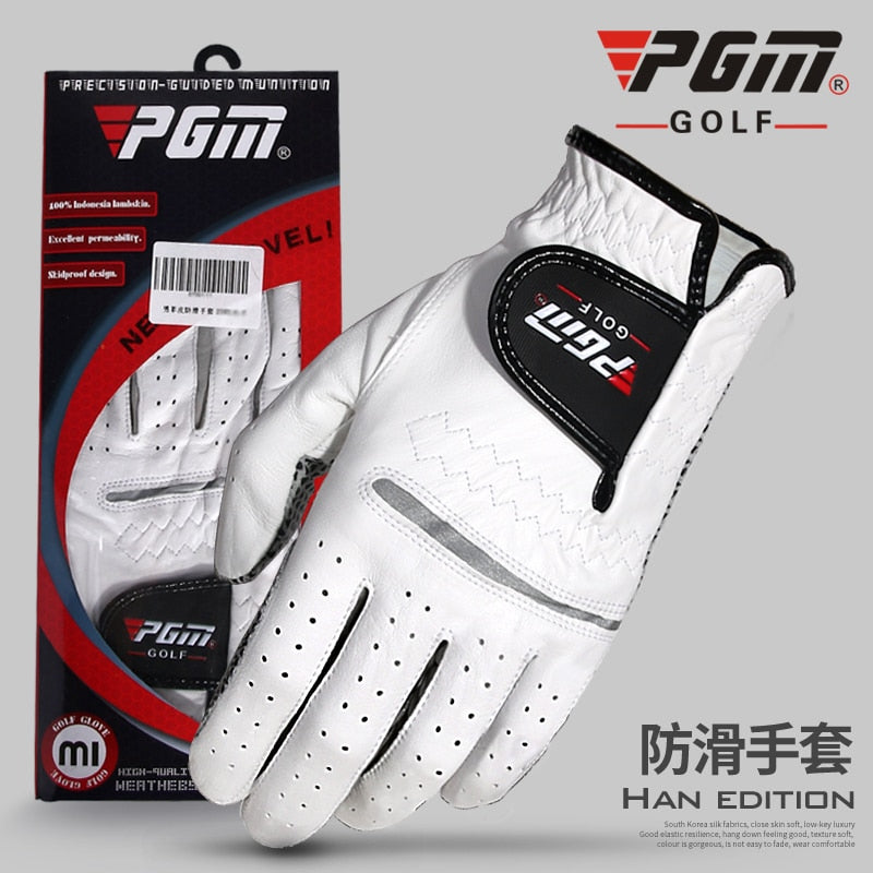 PGM Golf Ball Sportswear Glover Men Breathable Sheepskin Genuine Leather Ultra-thin Antiskid Right and Left Hand Soft Glove 2019