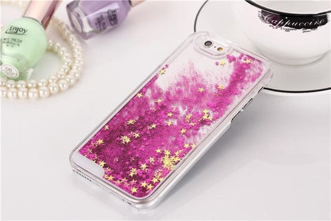 Liquid Glitter Bling Case for iPhone X Transparent Dynamic Cover for iPhone 4 4G 4S SE 5 5G 5S 5C 6 6S 7 8  Plus Water Case