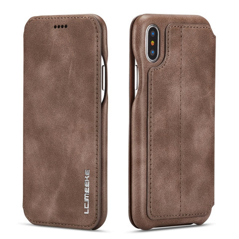 Genuine Leather Flip Cover for iPhone XS 10S Max XR X 8 7 6 6S Plus 11 XI 2019 Case Card Slot Magnetic Cover Stand Holder Fundas