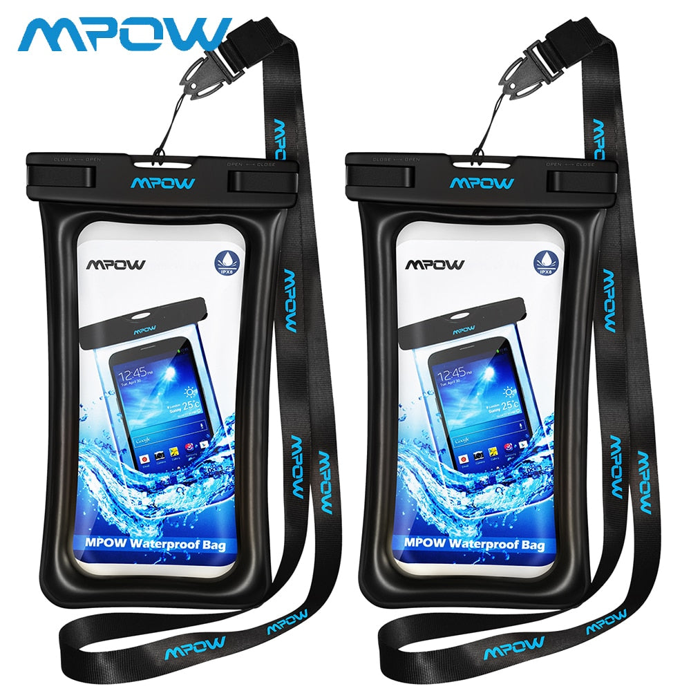 2 Pack Mpow IPX8 Waterproof Phone Pouch High Quality Floatable Transparent Clear Cover Case Dry Bag For Android iPhone Cellphone