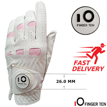 Ladies Golf Gloves PU Leather with Ball Marker Left Hand Right Rh Lh Weathersof Grip Breathbale Soft Women Fit XS S M L XL