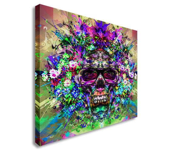 Skull with glasses, art Canvas Wall Art Picture Print