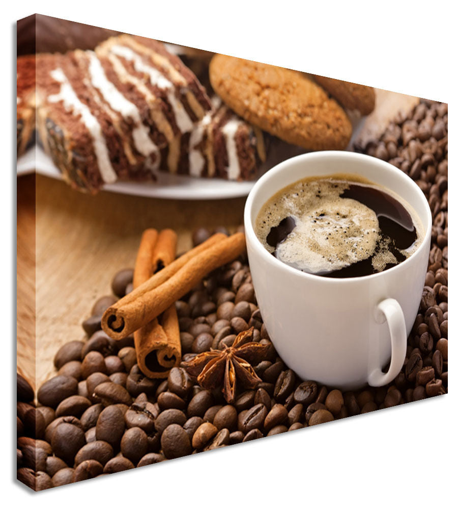 Coffee Shop Cup & Beans Canvas Wall Art Picture Print