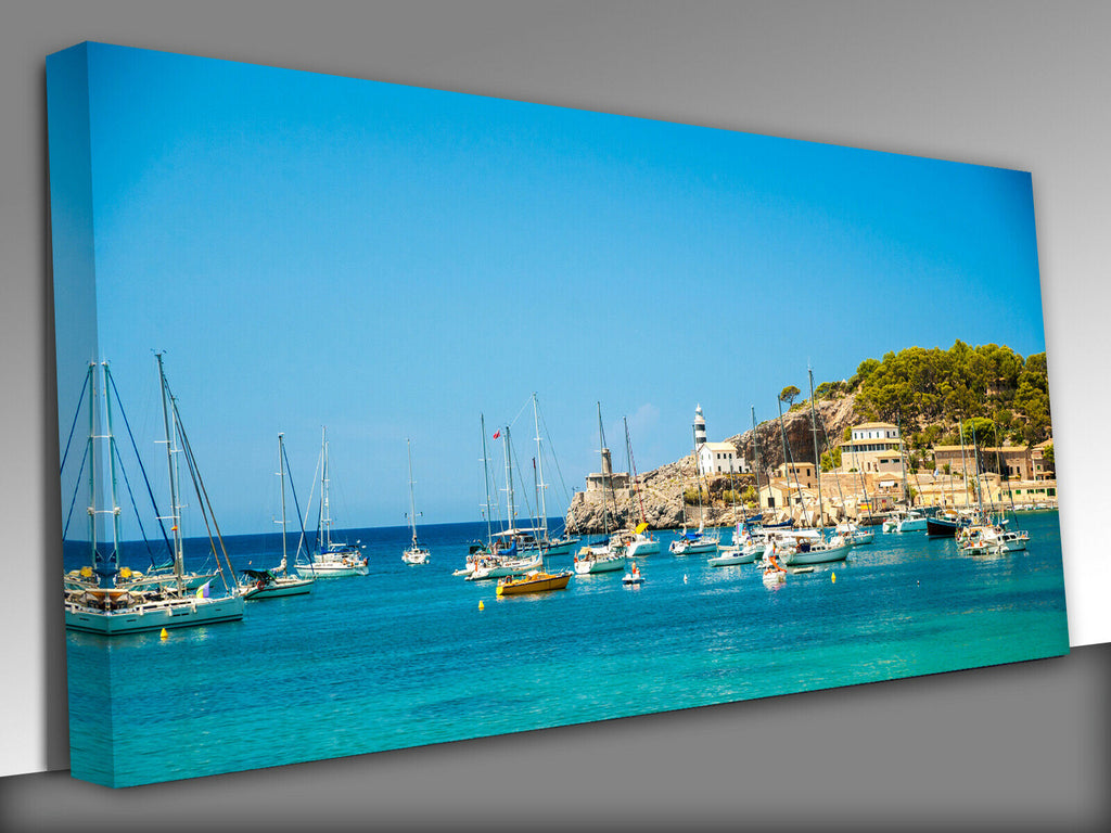 Puerto de Soller, Port of Mallorca  Panoramic Canvas Wall Art Picture Print