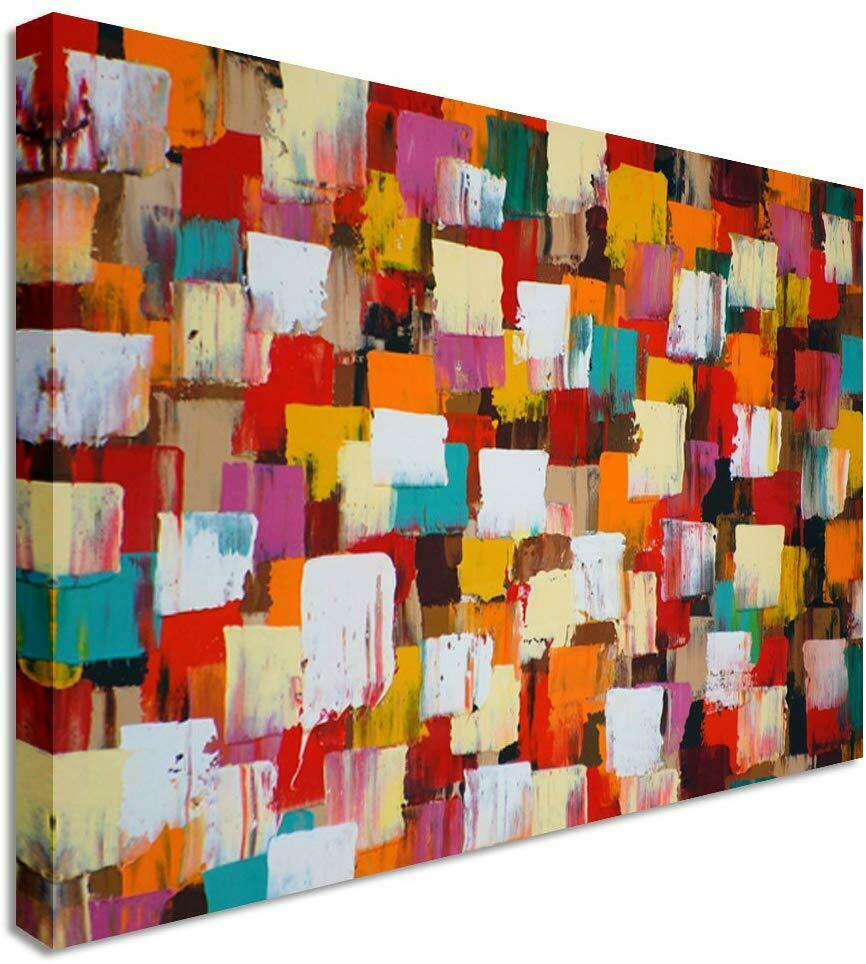 Abstract Painting Squares Canvas Wall Art Picture Print
