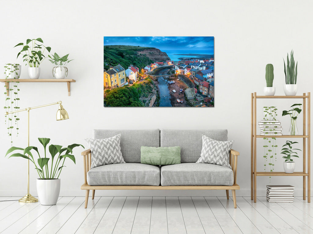 The pretty fishing village of Staithes Canvas Wall Art Picture Print