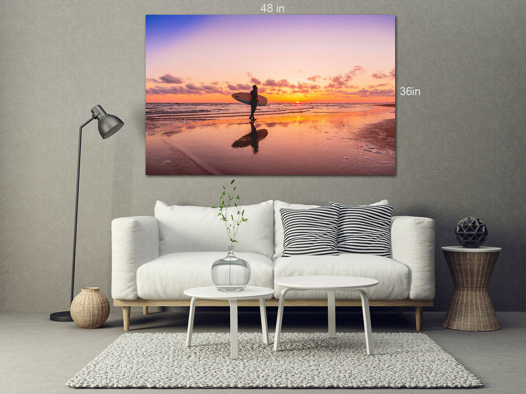 Susnet Lady Surfer Canvas Wall Art Picture Print