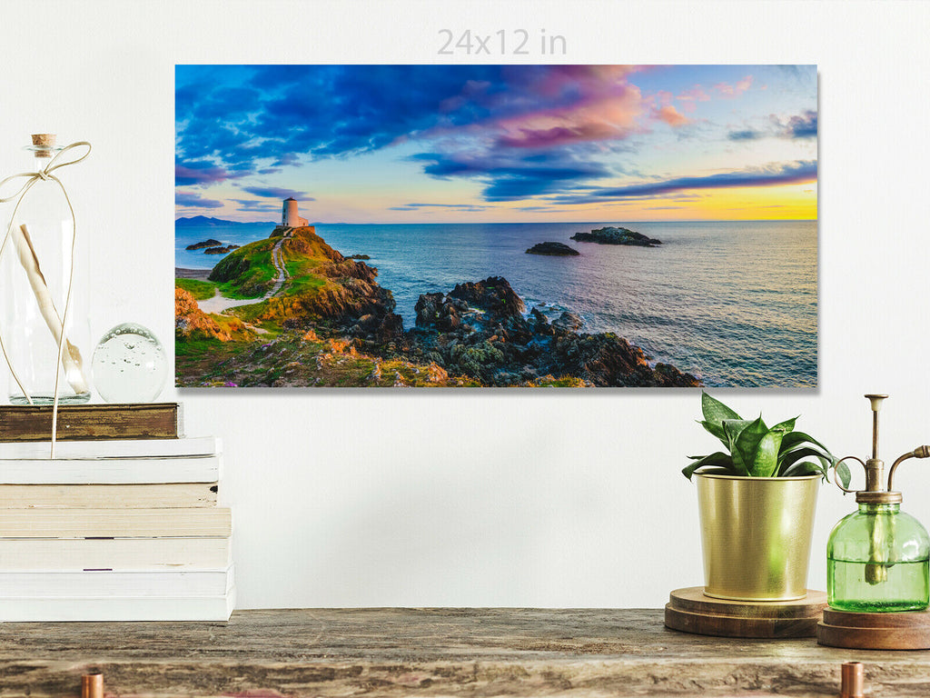Lighthouse on Llanddwyn Island  Wales  Panoramic Canvas Wall Art Picture Print