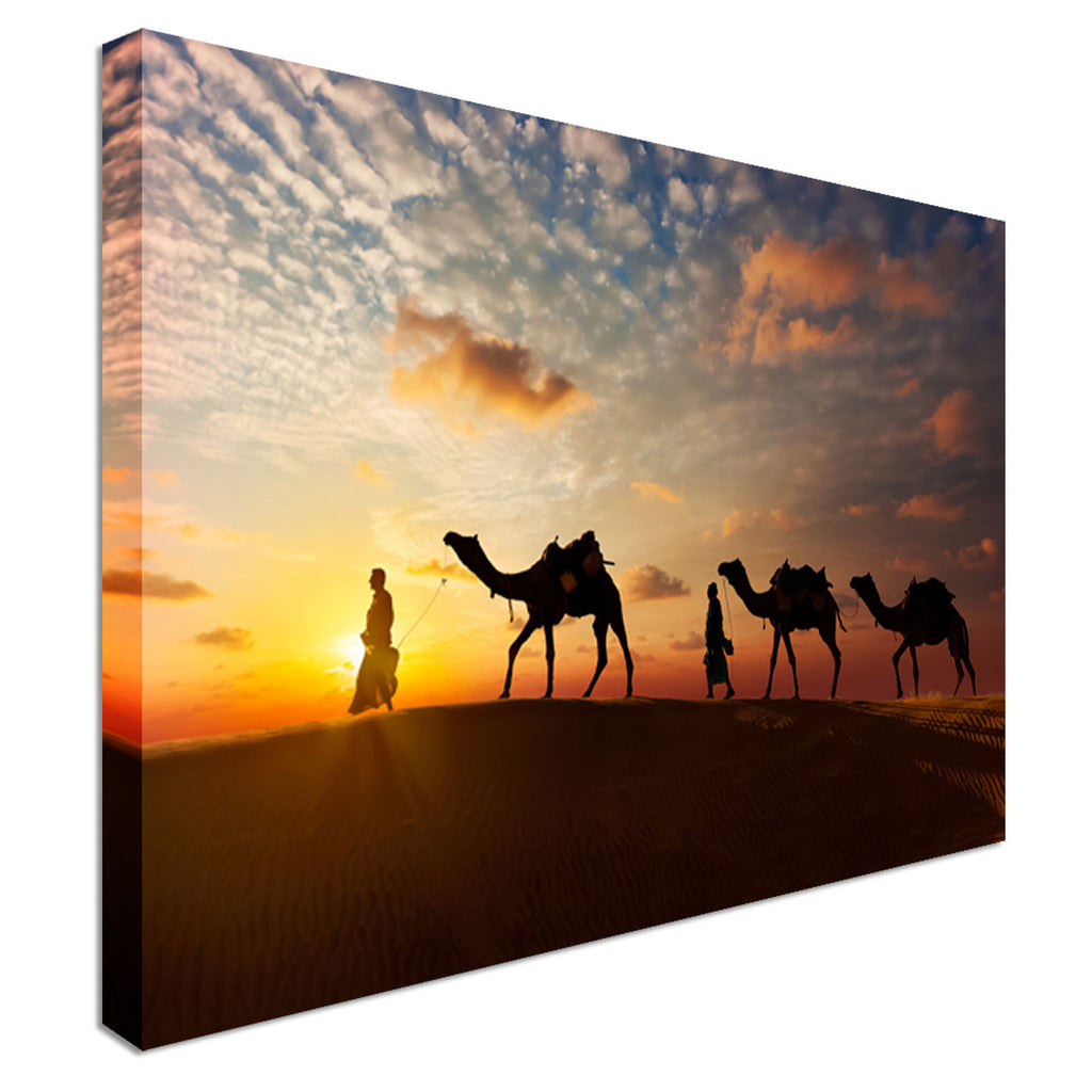 Camels at sunset Canvas Wall Art Picture Print