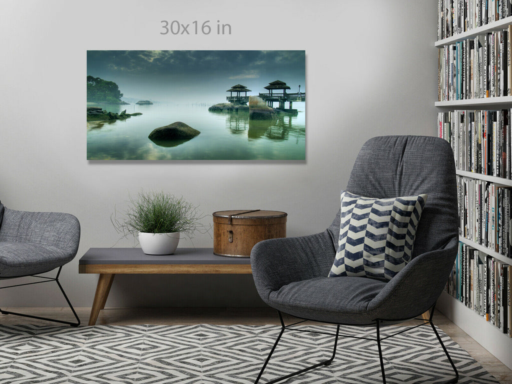 Misty Morning as seen Panoramic Canvas Wall Art Picture Print