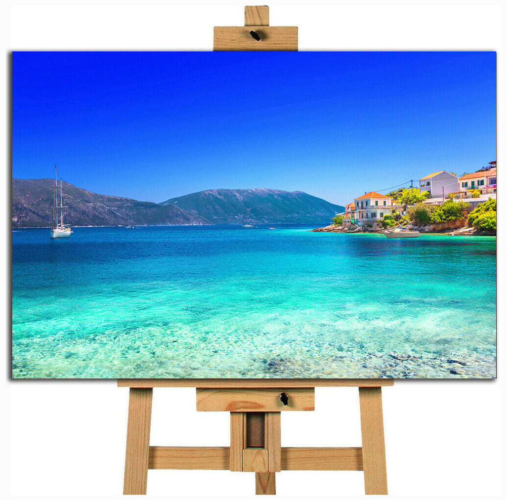 Blue Sea Nature Beach Kefalonia Island Greece  canvas wall art print