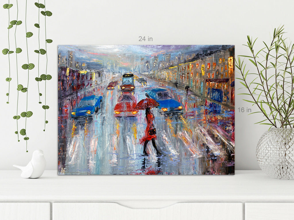 Lady City Rain  Canvas Wall Art Picture Print