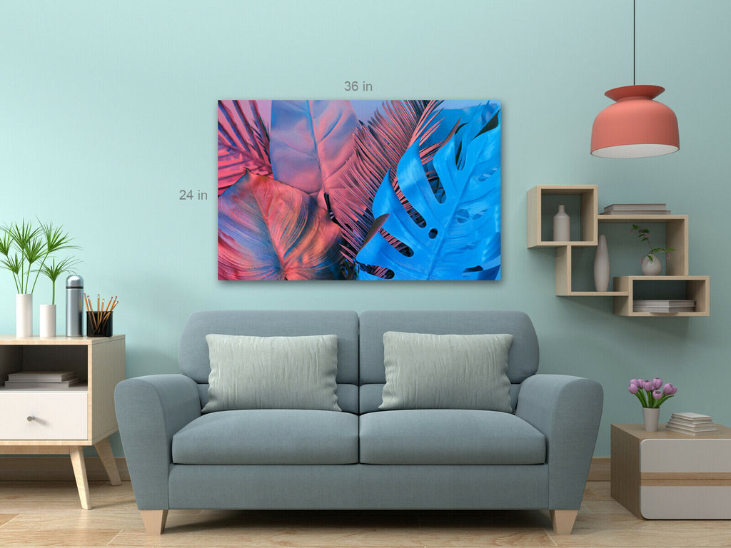 Tropical Colour Leaves Canvas Wall Art Picture Print