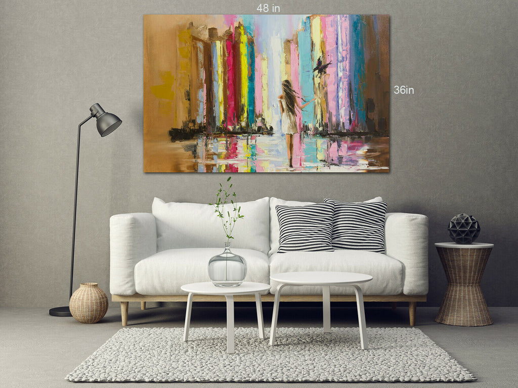 Woman Stripes Abstract Bird Canvas Wall Art Picture Print