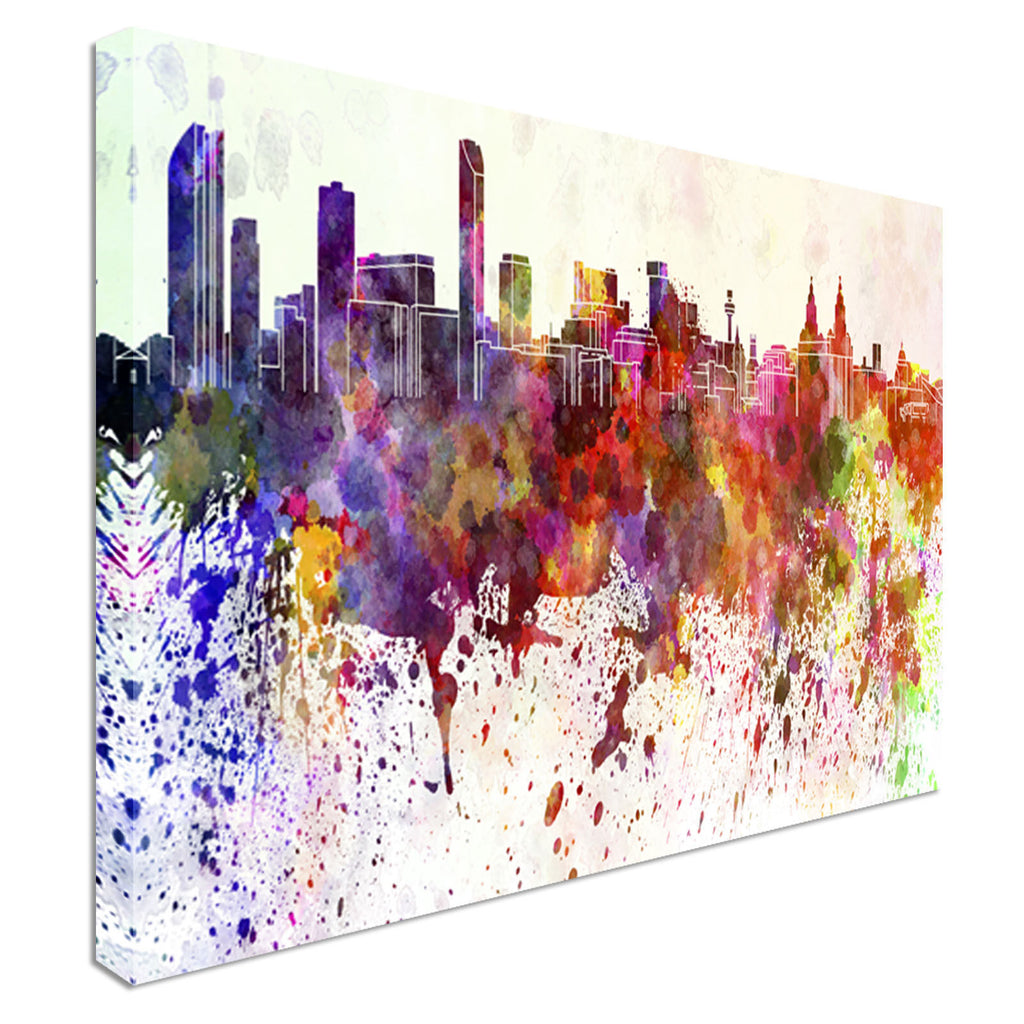 Liverpool skyline in watercolor 40x20inches, Panoramic, Canvas Wall Art Picture