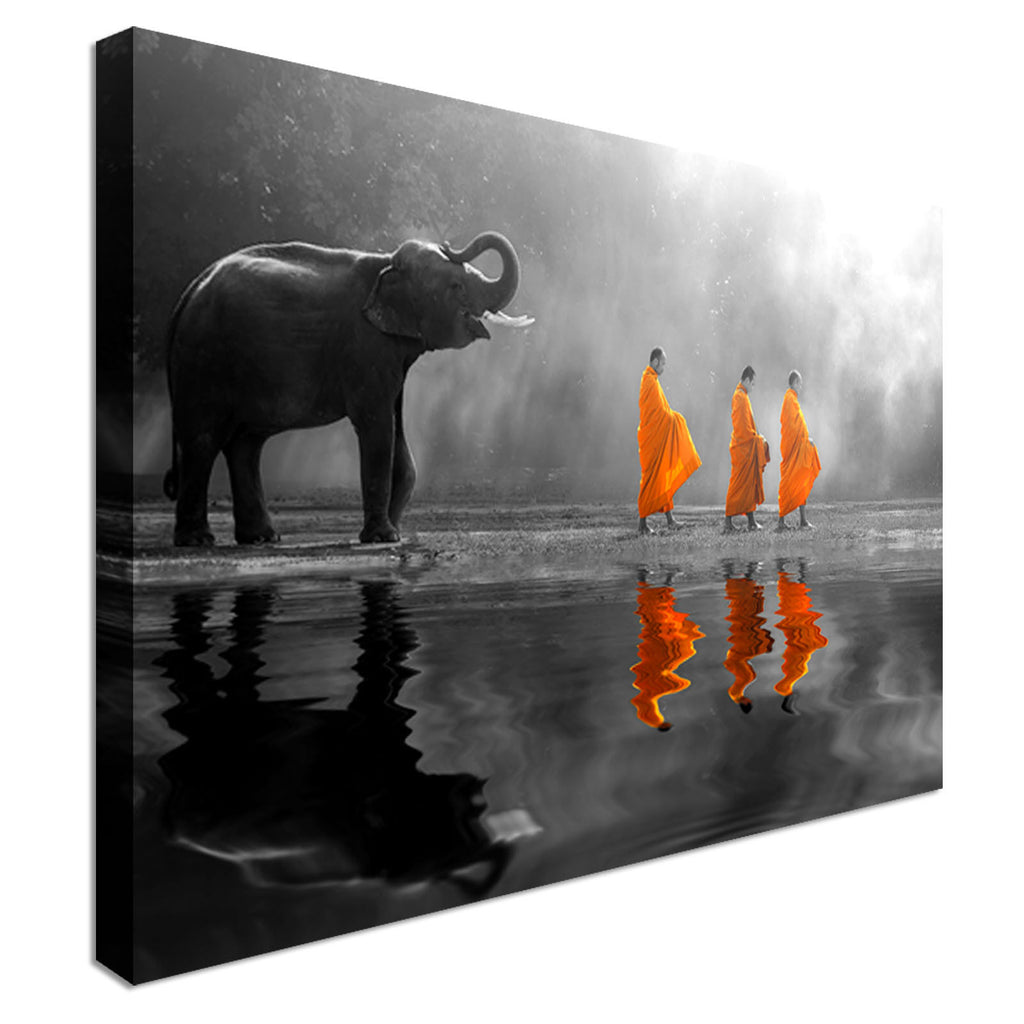 Buddhist Monks And Elephant  Canvas Wall Art Picture Print