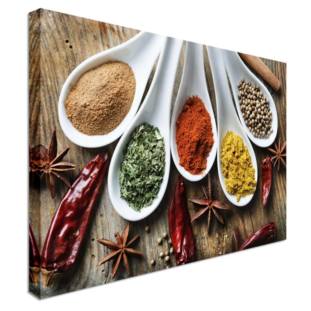 Spices spoon Collection Canvas Wall Art Picture Print