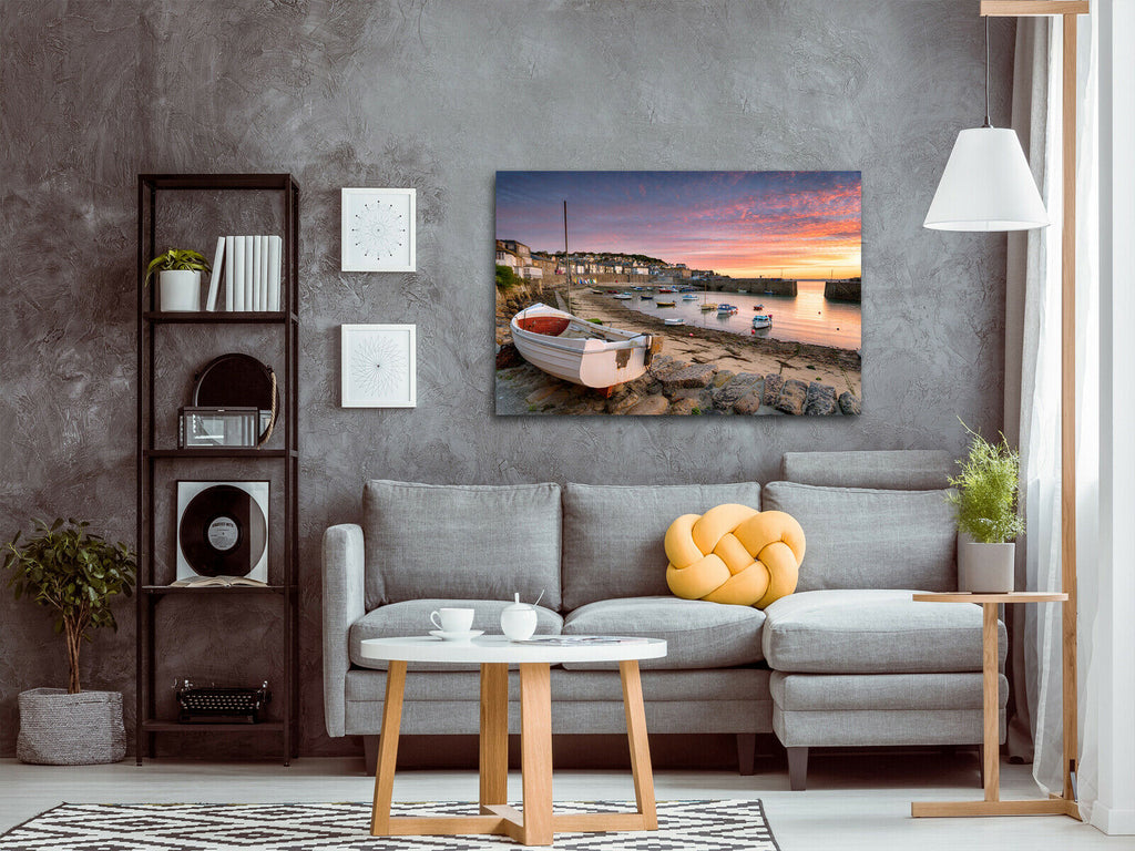 fishing boats at Mousehole near Penzance Canvas Wall Art Picture Print