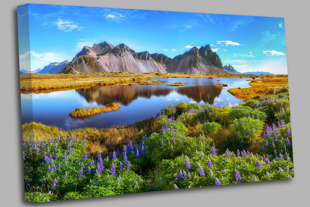 Iceland Beautiful sunny day Canvas Wall Art Picture Print