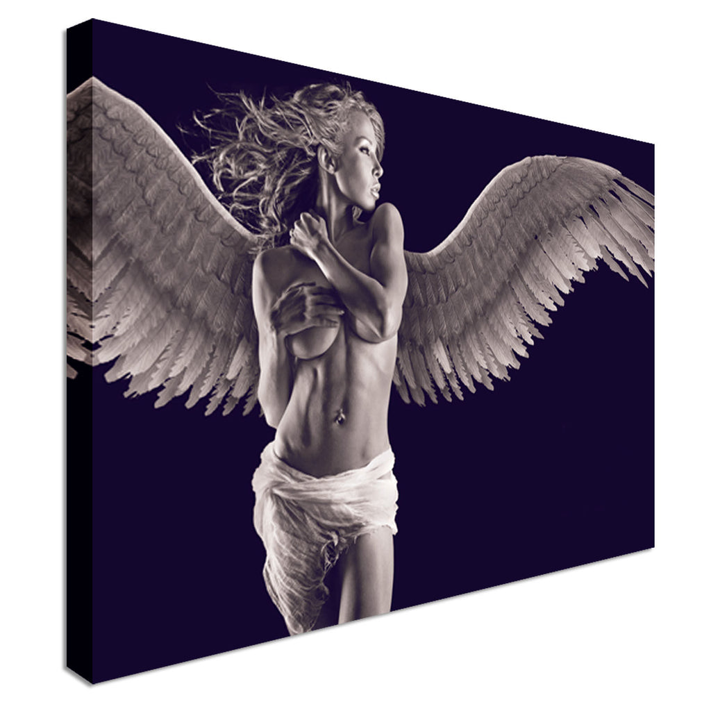 Sexy angel girl erotic nude Canvas Wall Art Picture Print