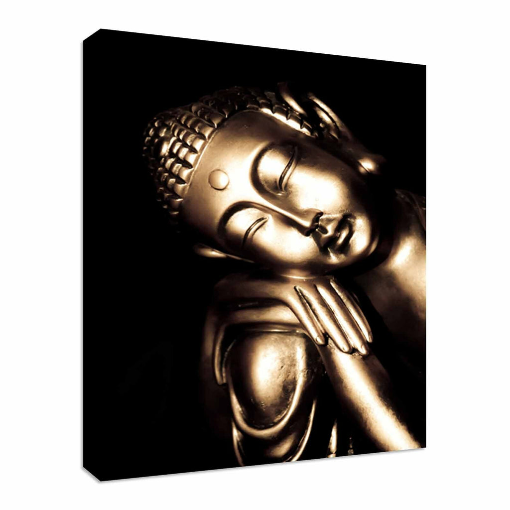 Relaxed golden buddha Canvas Wall Art Picture Print