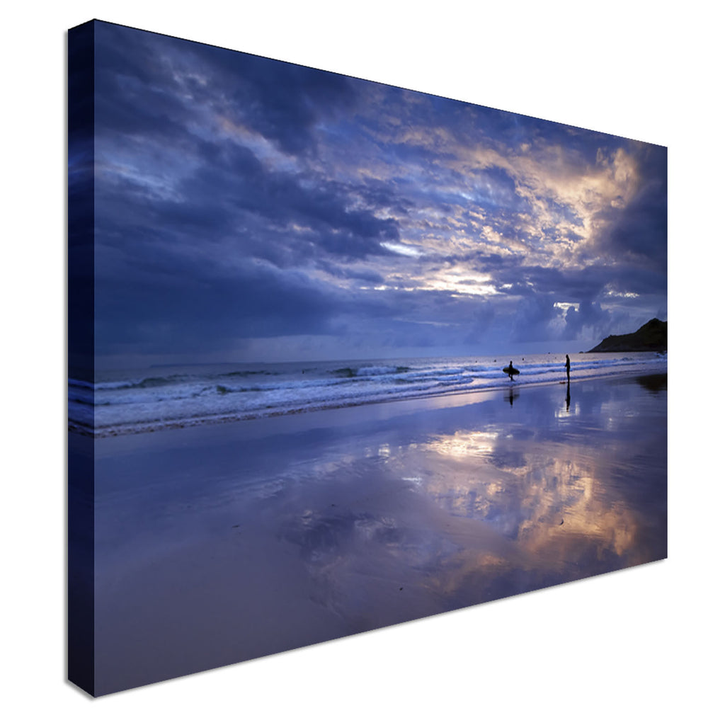 The last surfer at Woolacombe beach Canvas Wall Art Picture Print