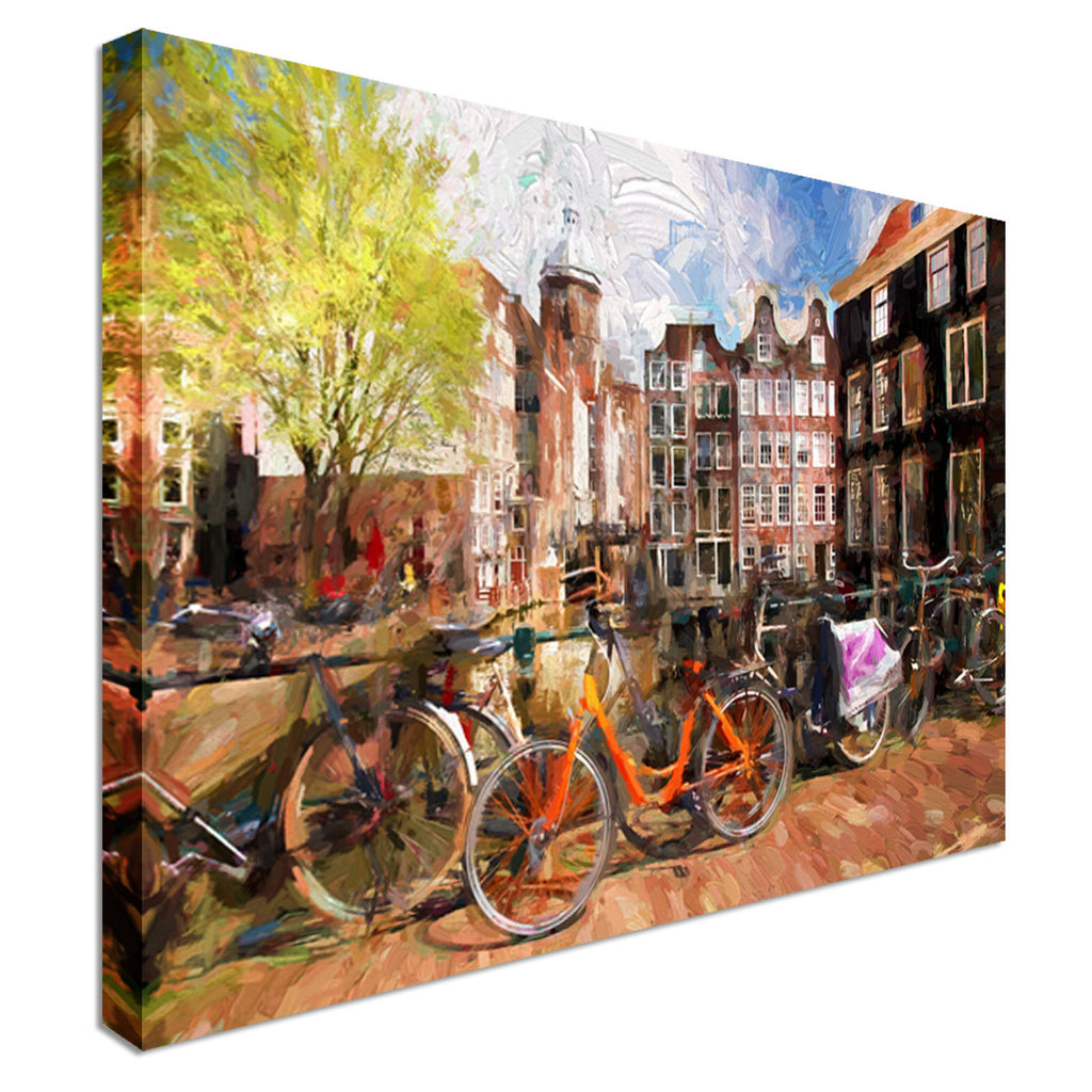 Famous Amsterdam city in Holland Canvas Wall Art Picture Print