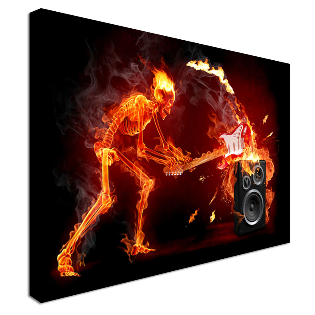 Rocking Fire skeleton Canvas Wall Art Picture Print