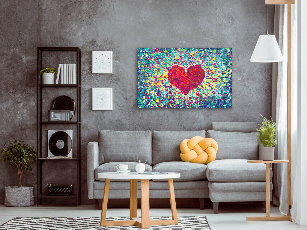 Heart Love Modern Canvas Wall Art Picture Print