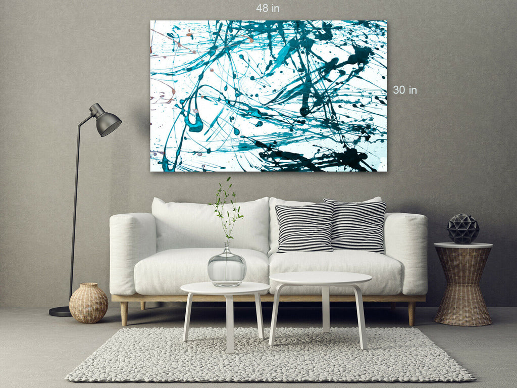 Blue Pollock Style Splash Canvas Wall Art Picture Print