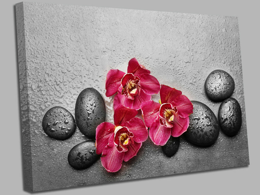 Spa stones and orchid Canvas Wall Art Picture Print