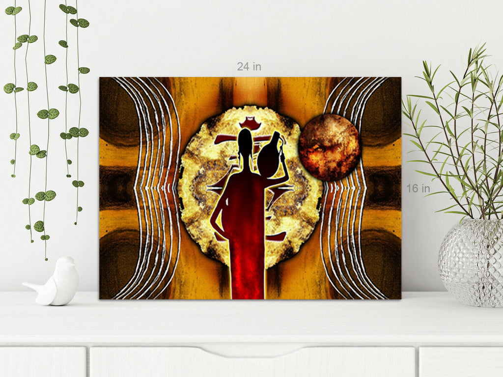 African Water Lady Canvas Wall Art Picture Print