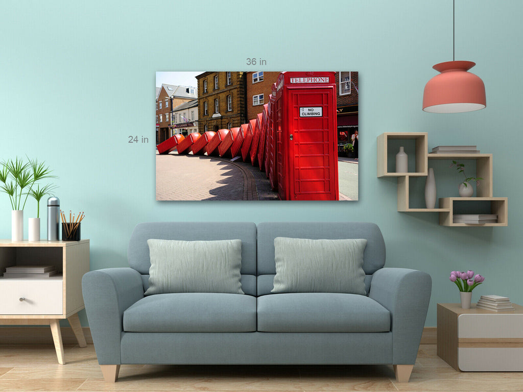 British Telephone Boxes Falling Canvas Wall Art Picture Print