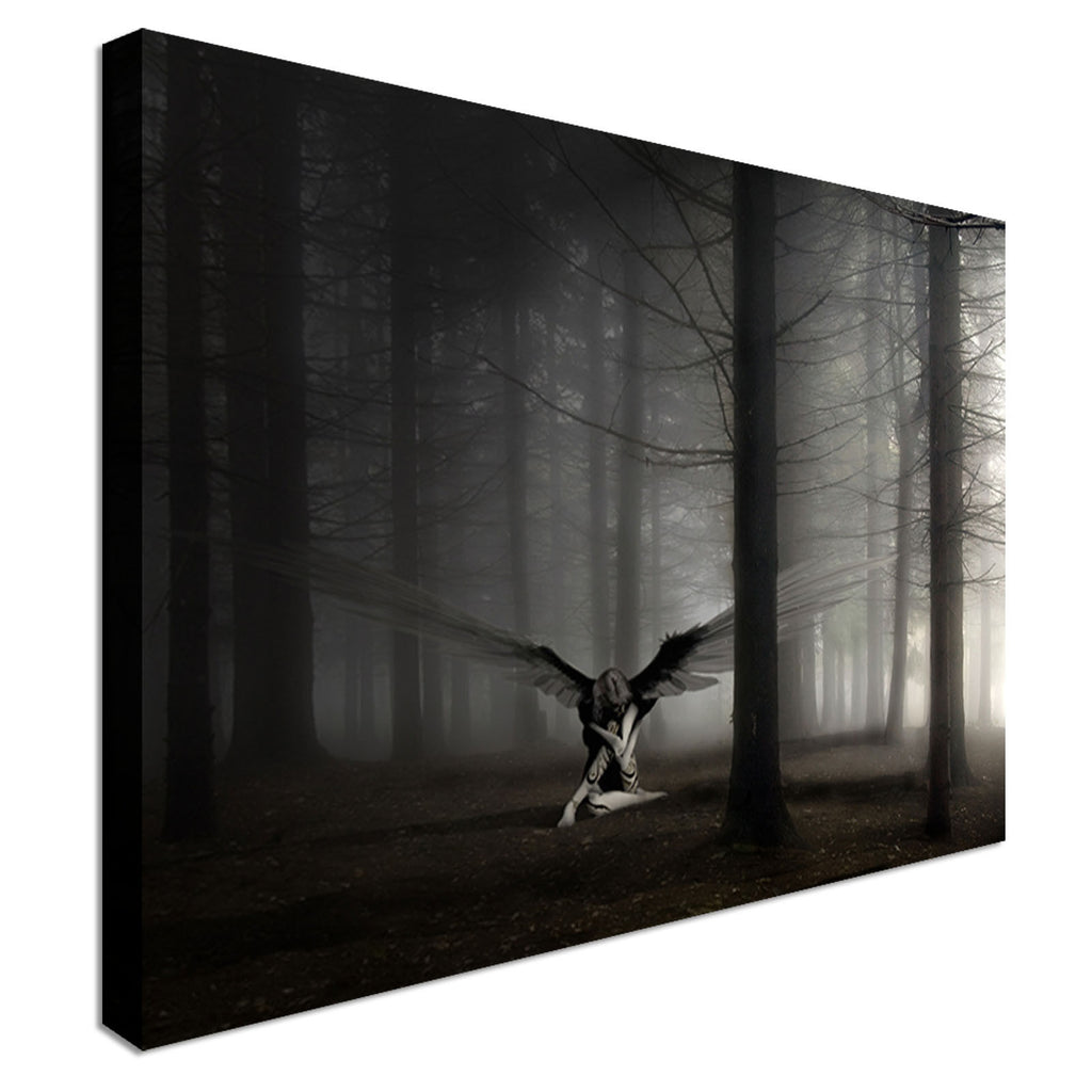 Angel In The Woods Black and White  Canvas Wall Art Picture Print
