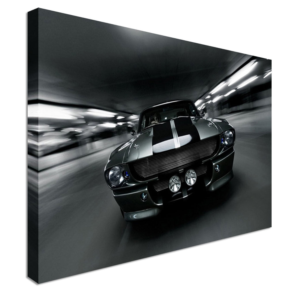 New framed car Mustang on the road  Canvas Wall Art Picture Print