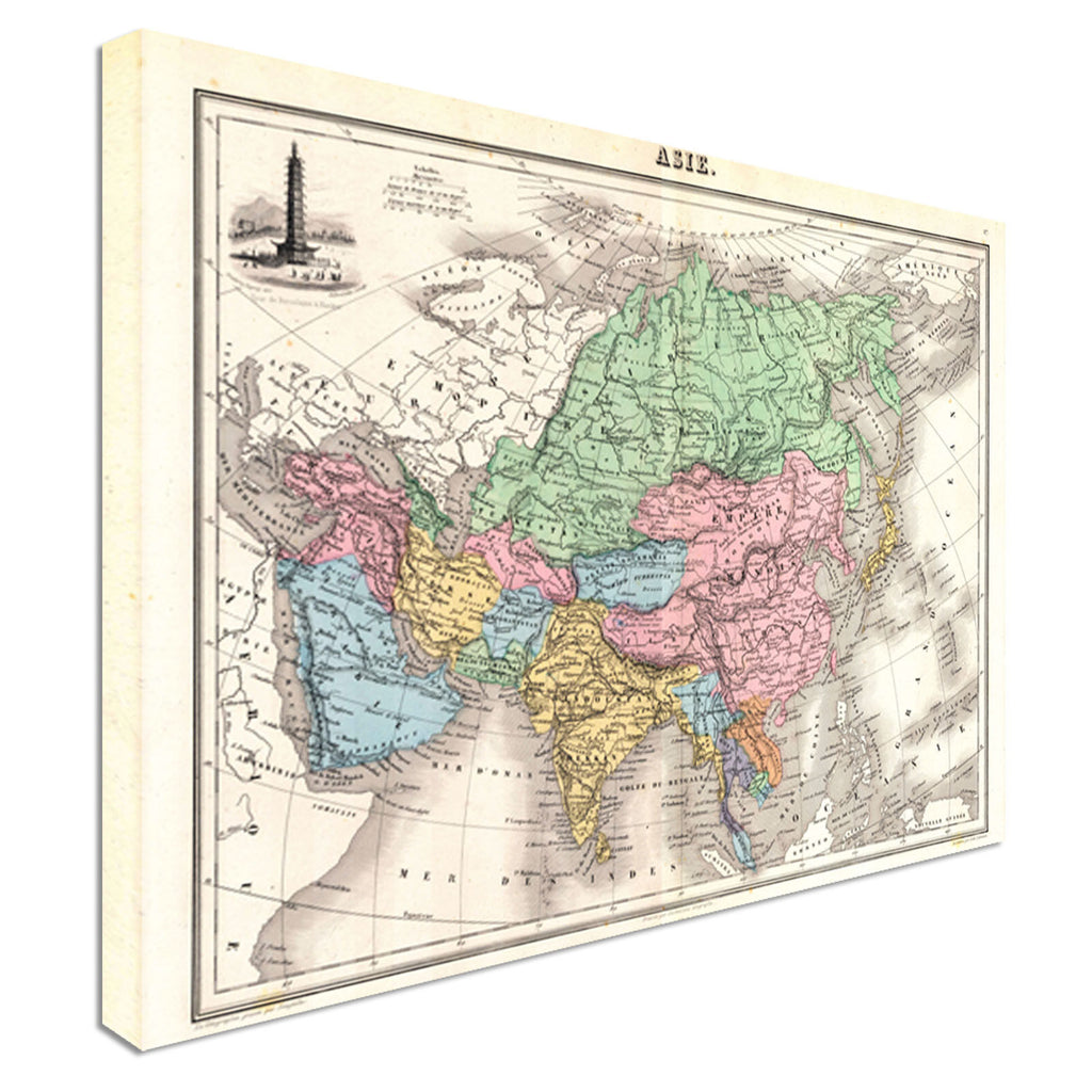 1870 Map of Asia Antique Canvas Wall Art Picture Print