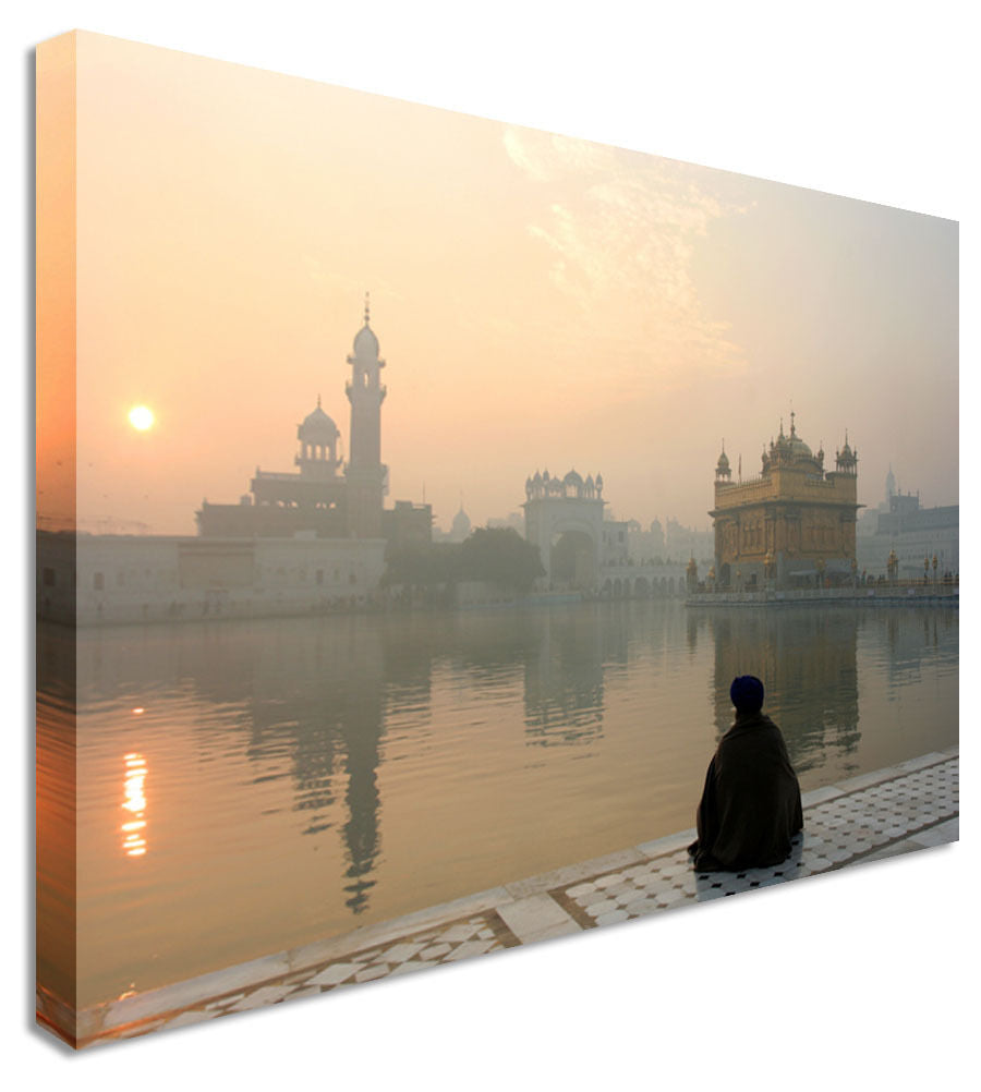 Sunset Still Lake Indian Canvas Wall Art Picture Print