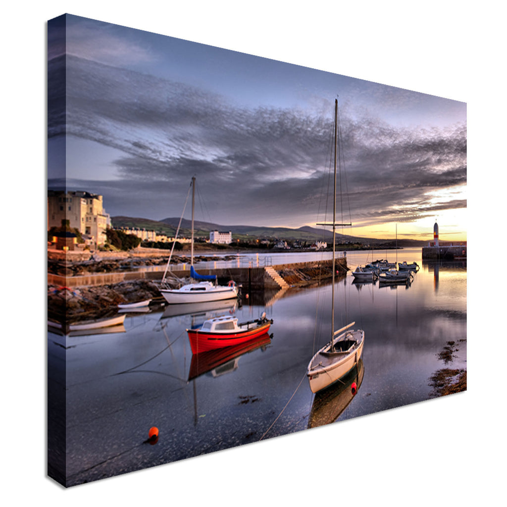 Boats In Harbour With Lighthouse Canvas Wall Art Picture Print