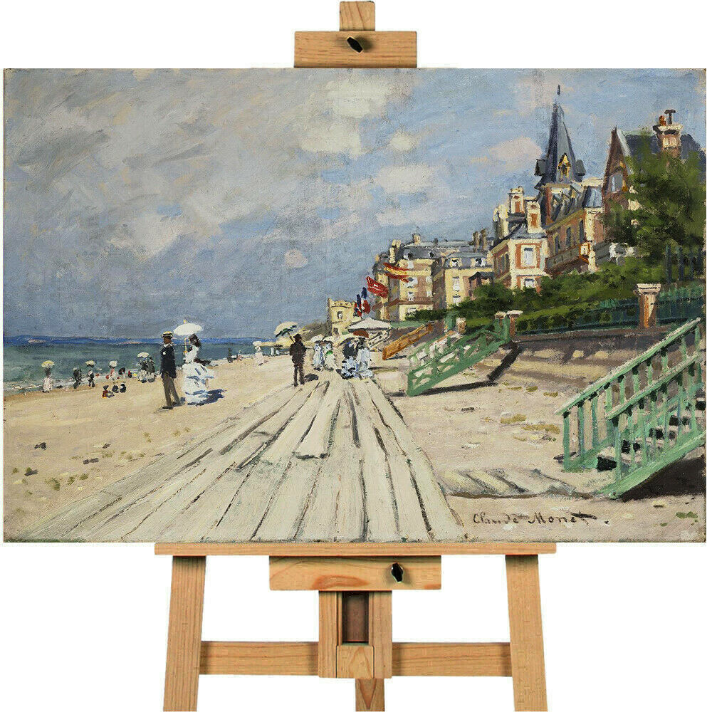 Beach At Trouville By Claude Monet Canvas Wall Art Picture Print
