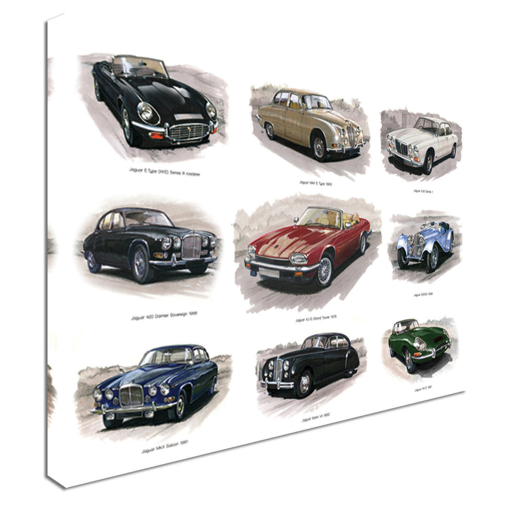 Vintage Jaguar Car Collection Collage Canvas Wall Art Picture Print