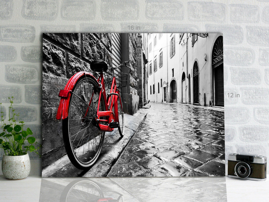 Red Bike Black And White  Canvas Wall Art Picture Print